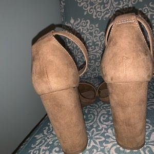 Merona Shoes - NEW!! Merona Tan Suede Block Heel Sandal Size 8